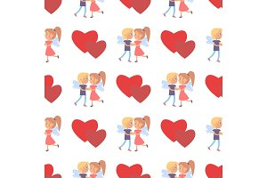 Boy Girl Couple Wings Back Seamless Pattern Heart