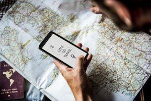 Man planning a trip
