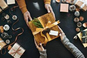 Winter seasonal concept gift box