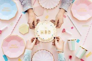 Flatlay of birthday celebration part