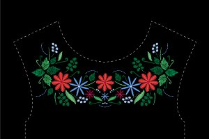 Satin embroidery design with flowers