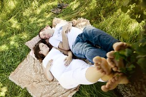 Young couple in the nature.