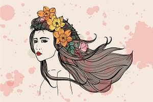 Fashionable portrait beautiful girl