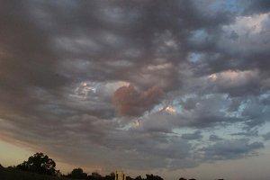 Pink heart cloud