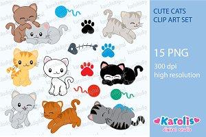 Cute cats - clip art set