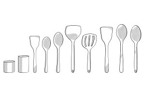 Hand drawn modern spoons
