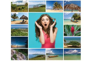 Collage of beach holiday scenes in Jamaica