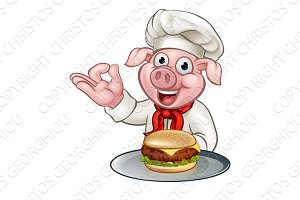Cartoon Pig Chef Holding Burger