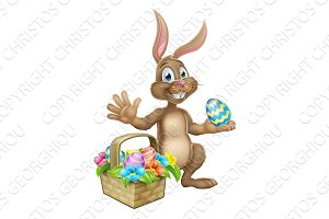 Easter Bunny Rabbit Egg Hunt Cartoon