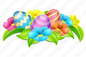 Cartoon Decorated Easter Eggs and Flowers