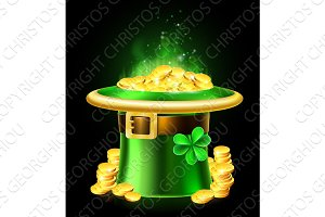 St Patricks Day Leprechaun Shamrock Hat of Gold