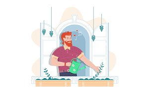 Man is watering the flowers. Flat Vector illustration