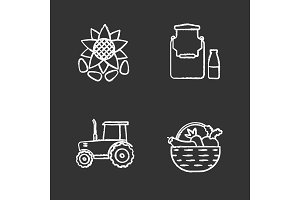 Agriculture chalk icons set