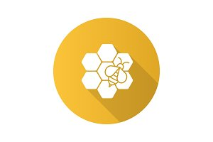 Beekeeping flat design long shadow glyph icon