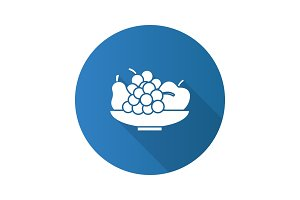 Bowl with fruit flat design long shadow glyph icon