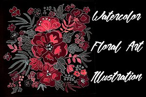SALE Watercolor red flowers on black