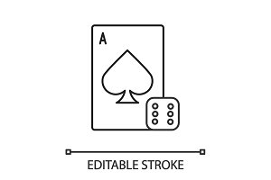 Dice and playing card linear icon