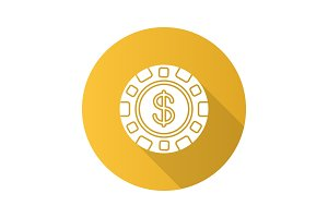 Casino chip flat design long shadow glyph icon