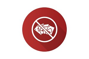Forbidden sign with cards flat design long shadow glyph icon