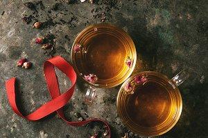 Two glasses of hot tea