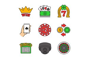 Casino color icons set