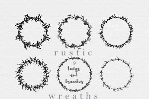 Branches and twigs wreath collection