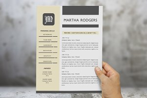 3 in 1 modern monogram 2 p resume