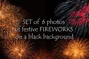 Set of festive Fireworks