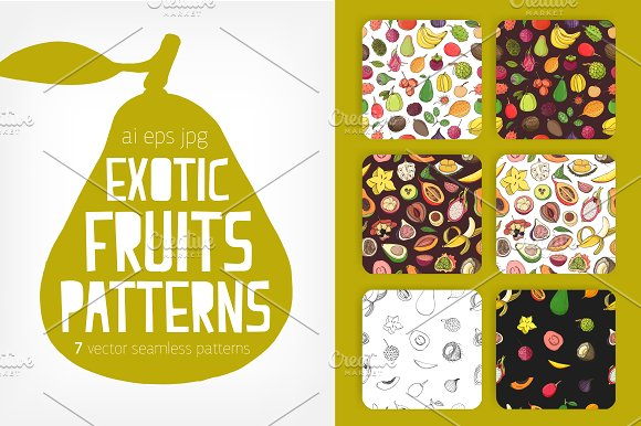 exotic tropical fruits seamless