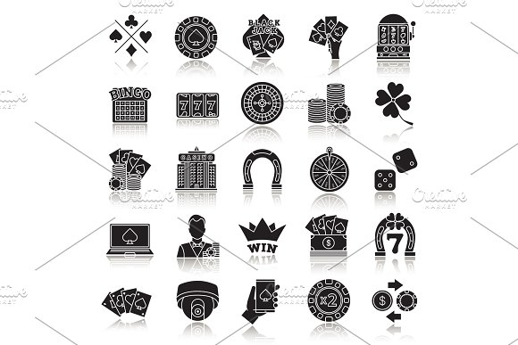 Casino drop shadow black glyph icons set