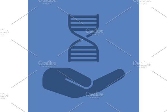 Open hand with with DNA chain glyph color icon