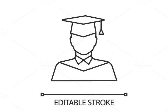 Graduate student linear icon