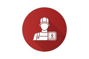Loader man flat design long shadow glyph icon