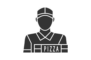 Pizza deliveryman glyph icon