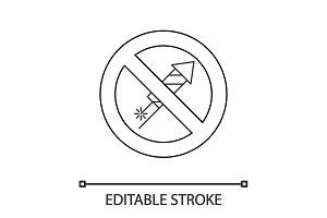 Forbidden sign with firework rocket linear icon