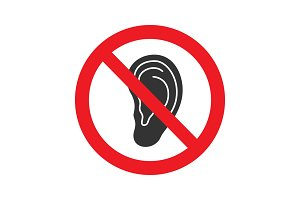 Forbidden sign with ear glyph icon