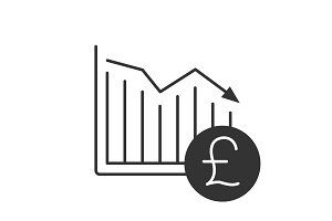 British pound falling glyph icon
