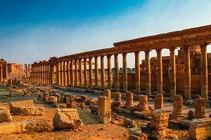 Panorama of Palmyra columns and ancient city, destroyed ISIS Syr