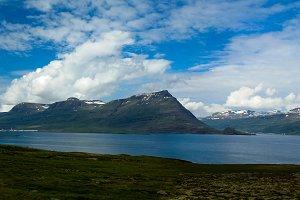 Panorama of Reydarfjordur, biggest fjord, Eastern Iceland