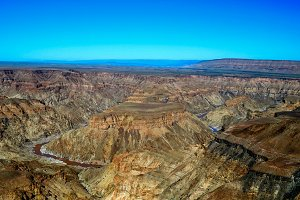 landscape of oldest in the world Fish river Canyon Namibia