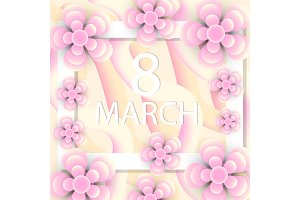 International Women's Day greeting card modern paper cut style. March 8 template for your design. Vector illustration