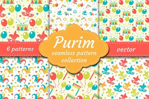 Carnival seamless pattern set. Collection Purim background. Holiday, masquerade, festival, birthday party. Endless backdrop, repetitive texture, wallpaper, paper. Vector illustration.