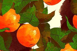 tangerine seamless pattern | JPEG