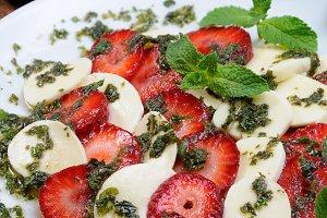 Strawberry caprese with mozzarella