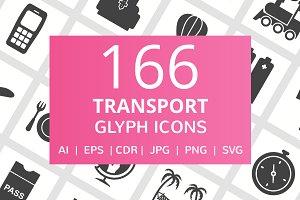 166 Transport Glyph Icons