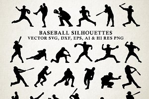 Baseball Silhouettes Vector Pack