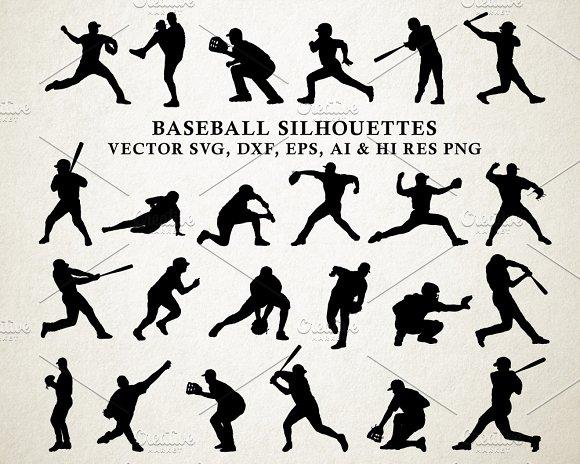 Baseball Silhouettes Vector Pack