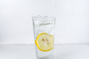 glass with a lemon