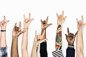 Diversity hands gesturing love sign