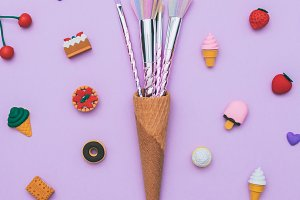 make-up brushes in a waffle cone